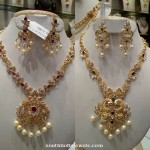 Gold White Stone Necklace with Chandbali Earrings Set