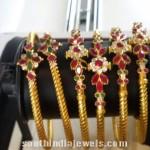 Gold Ruby Emerald Bangles