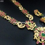 Imitation Ruby Emerald Peacock Necklace