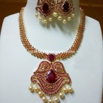 Imitation Ruby Pearl Necklace