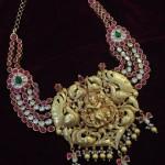 Gold Krishna Pendant With Rubies and Polki