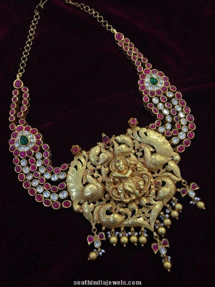 Temple Jewellery krishna pendant with rubies and polki