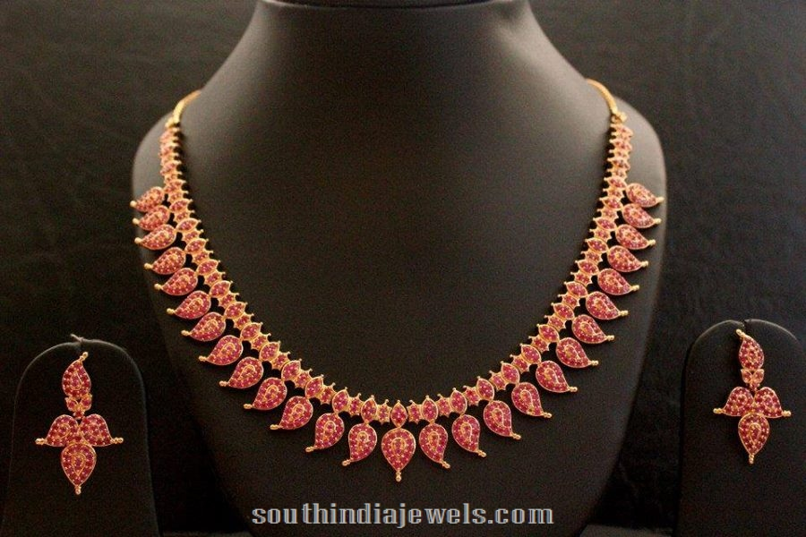 one gram american diamond necklace set with earrings