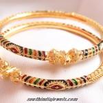 Gold Enamel Work Bangles