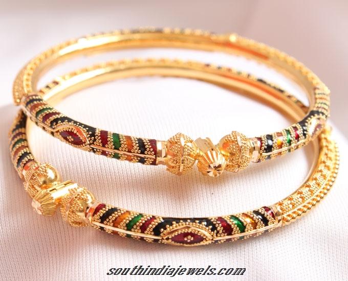22K Gold Adjustable Bangle with Enamel Work