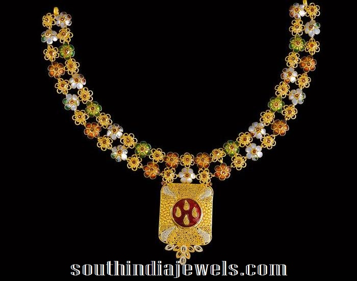 22K gold necklace latest design from Kalyan jewellers