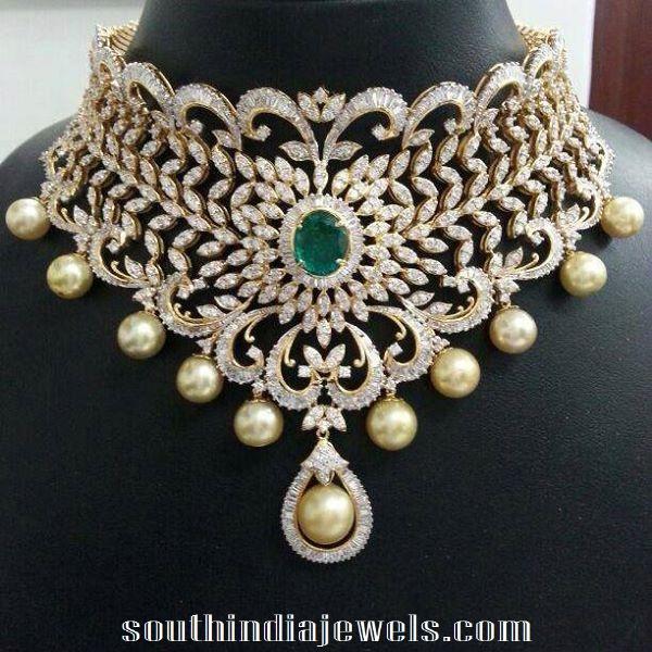 Bridal diamond emerald choker with emerald stone