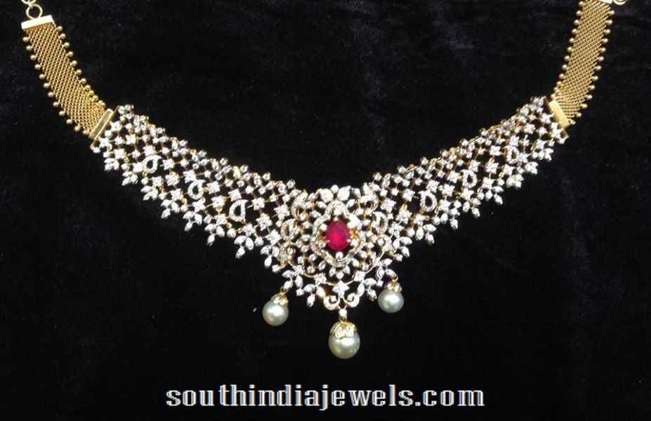 Diamond Choker Necklace with interchangeable stones