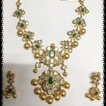 Diamond Emerald Necklace with Earrings