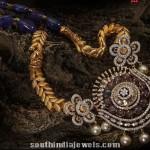 Sapphire Beads Mala with Diamond Pendant