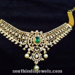 Gold Diamond Necklace With Green Stone