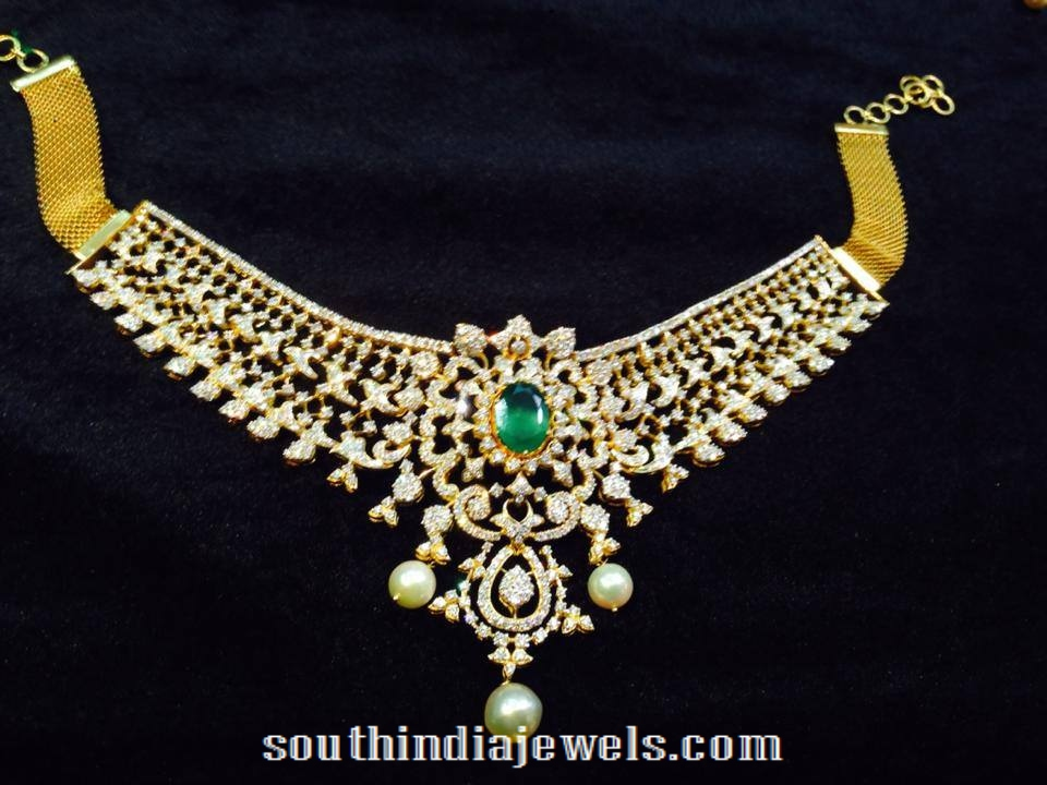 Gold Diamond Necklace with Green stone and pearls