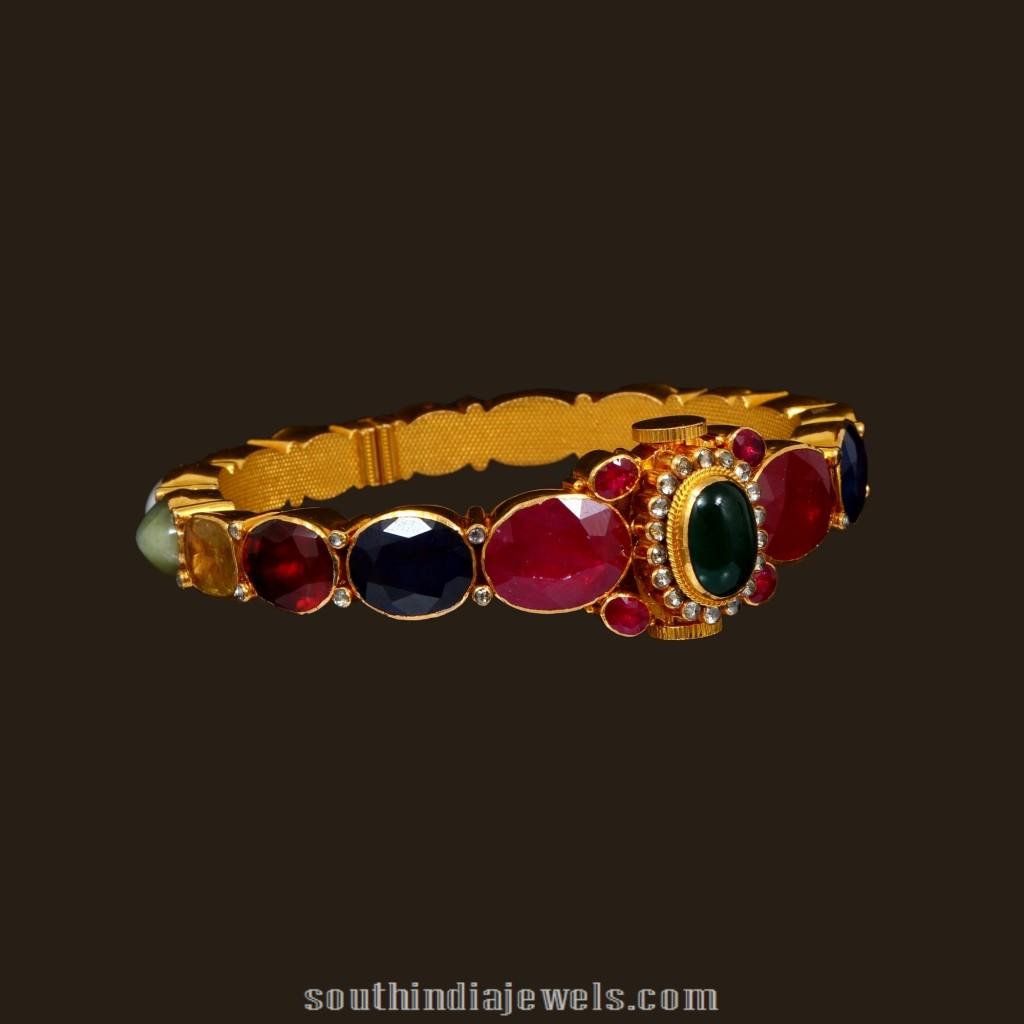 Gold Antique Navaratna Bangle from VBJ