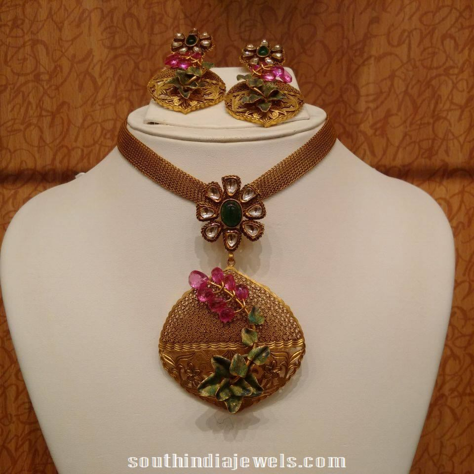 Gold Statement Necklace with Rose cut beads