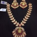 Leaf Pattern AD studded Necklace