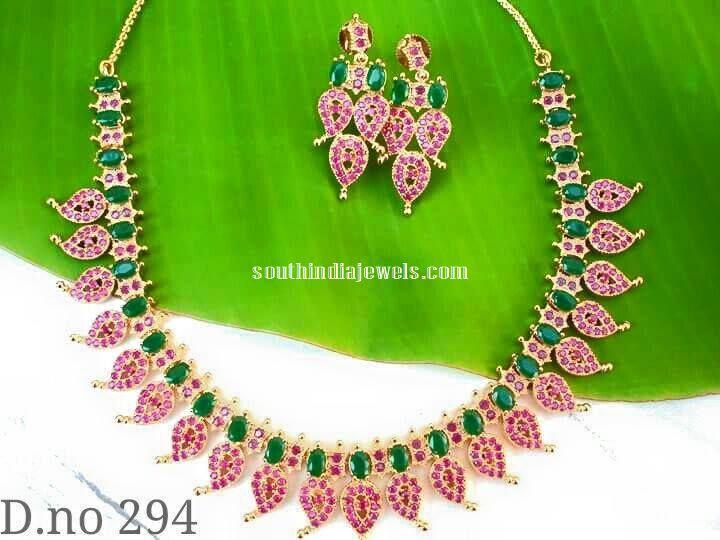 Imitation Ruby Emerald Mango Necklace