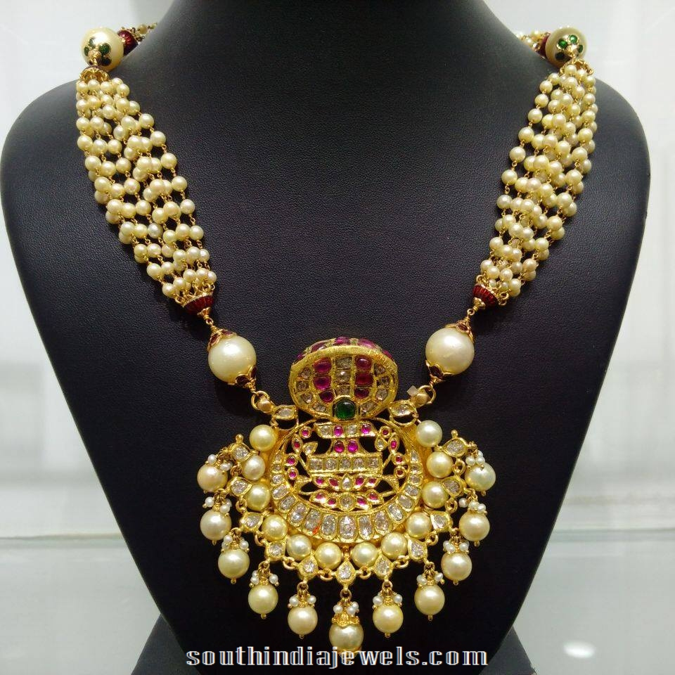 Rose cut diamond with pearl combination necklacee