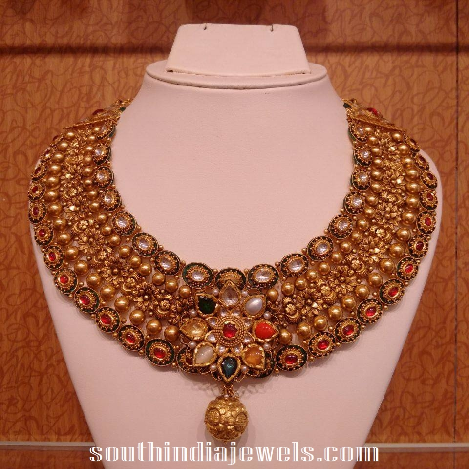 Navarathna antiqye choker necklace set