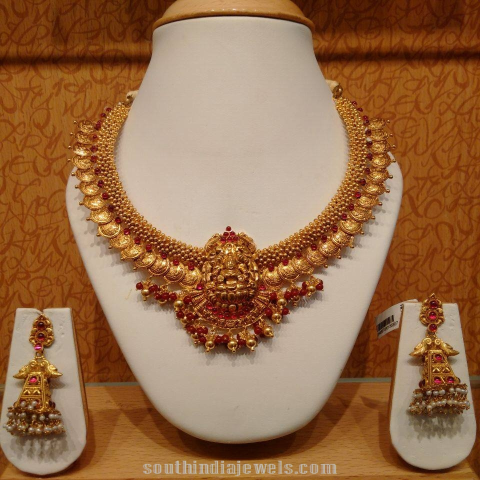 Latest temple coin necklace with kemp stones matching jhumkas