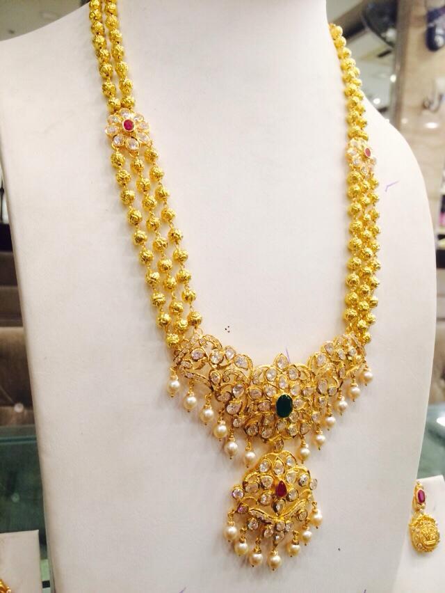 Three layer gold ball long haram latest design