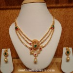 Three Layer Gold Peacock Necklace With Earrings
