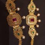 Gold Arm Band with Rubies and Emeralds
