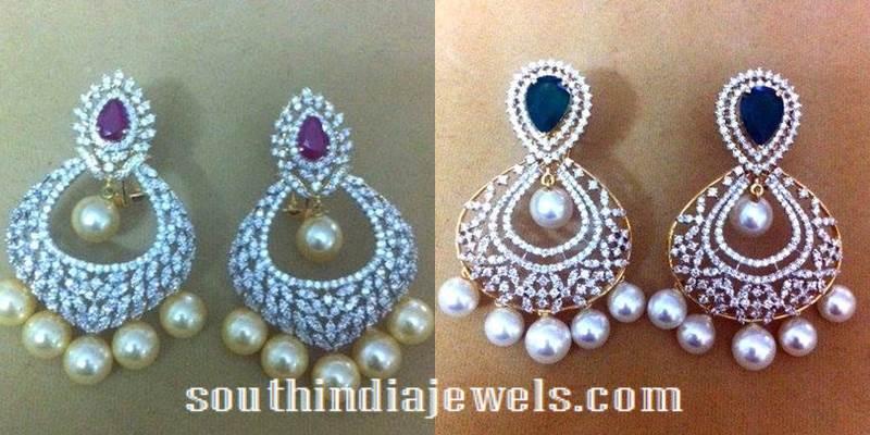 Gold Diamond Chandbali earrings designs