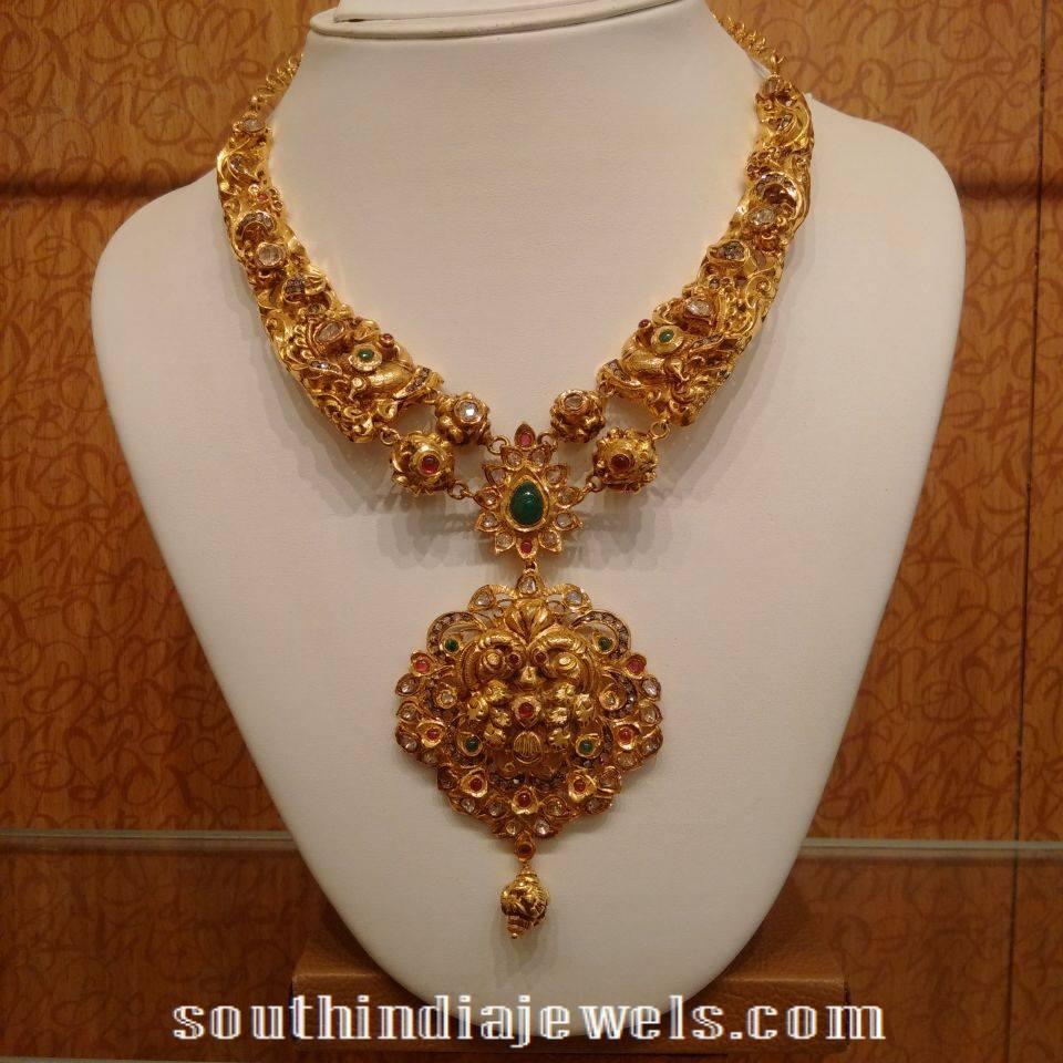 gold antique necklace with diamond polki stones