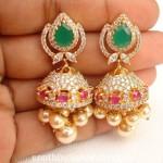 Imitation American Diamond Jhumkas