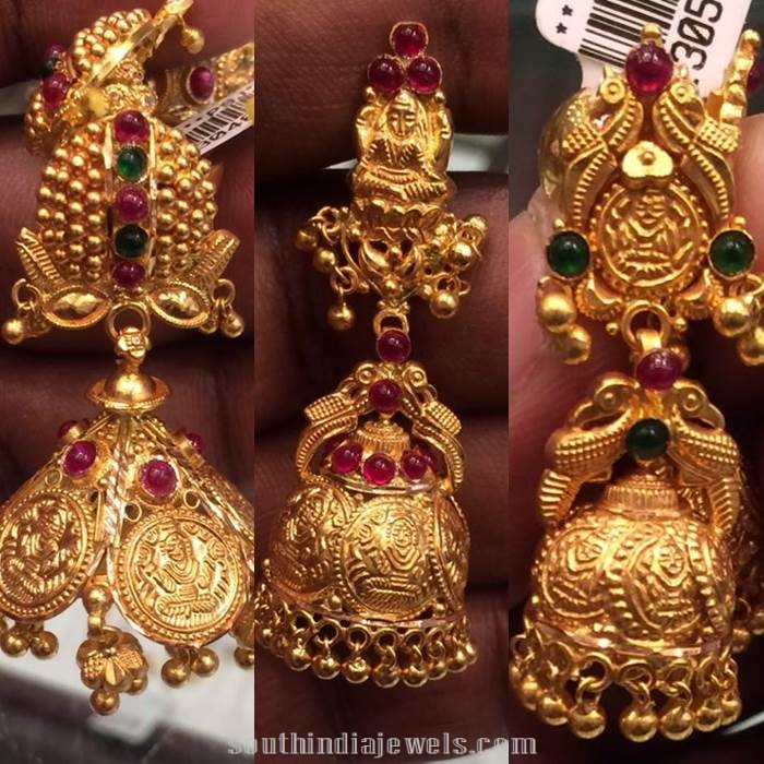 Coin style gold antique jhumkas