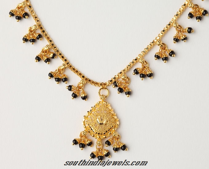 Gold Black Bead Short Necklace Design
