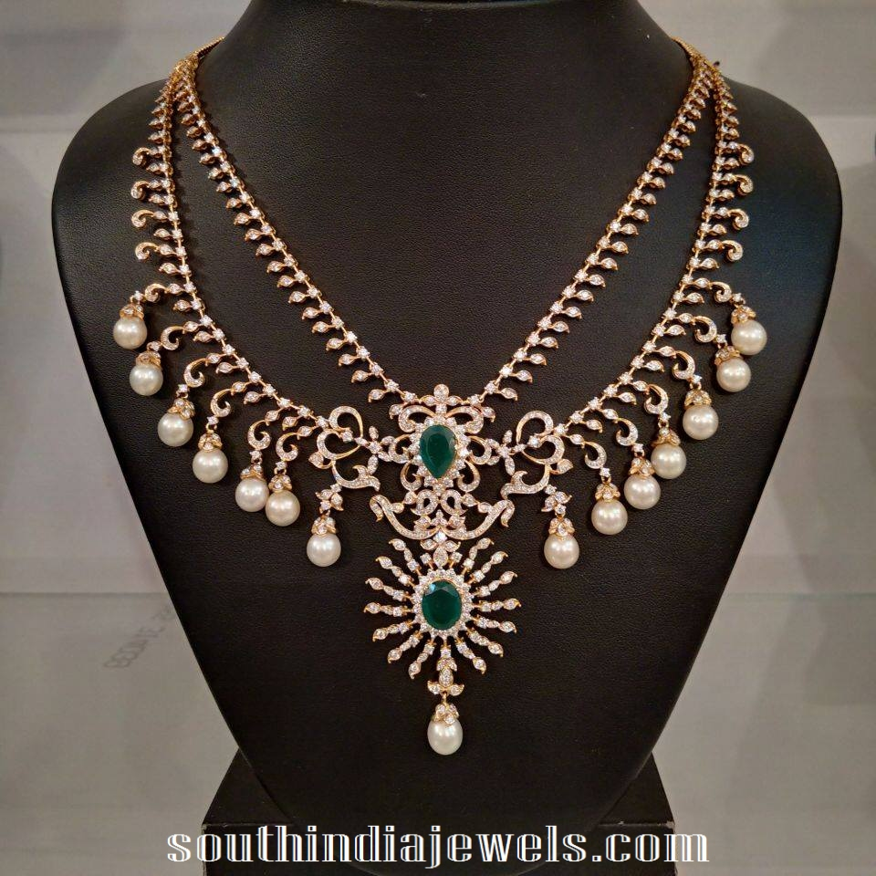 south indian bridal diamond jewellery necklace sets models
