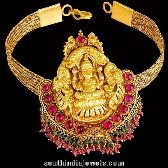 temple jewellery choker from kalyan jewellers