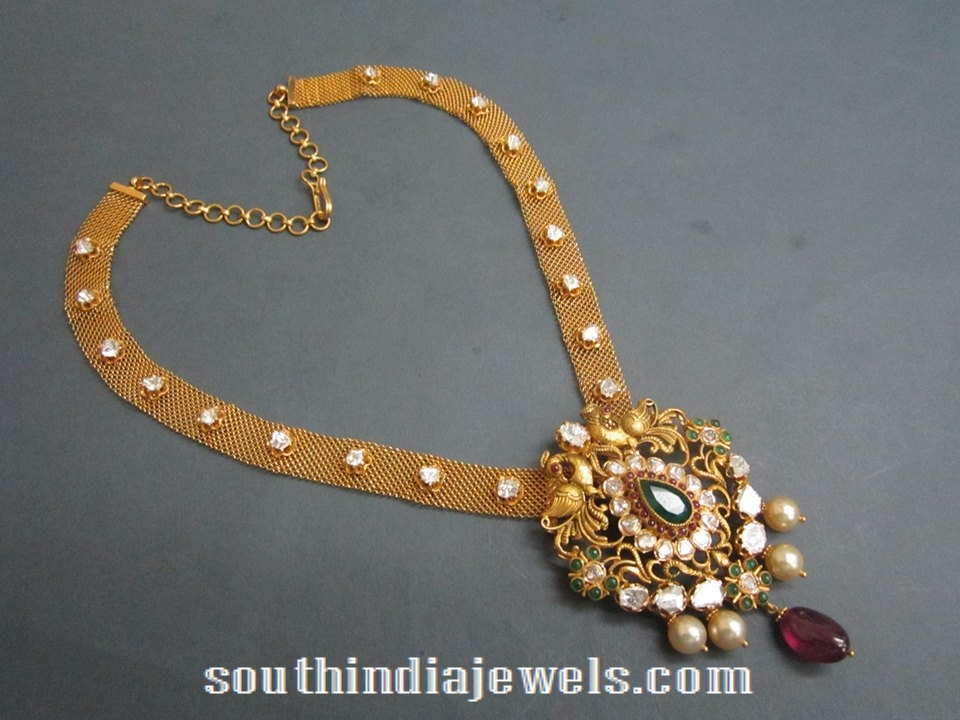 Uncut diamond emerald gold necklace