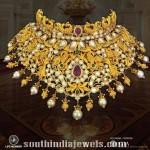 Gold Peacock Choker Necklace Design