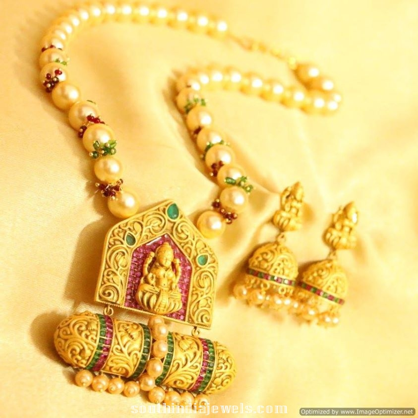 1 gram gold pearl mala with jhumka