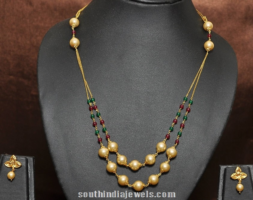 1 gram gold plated pearl chain