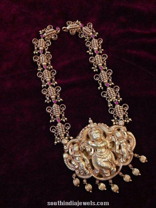 22k gold antique necklacewith krishna pendant