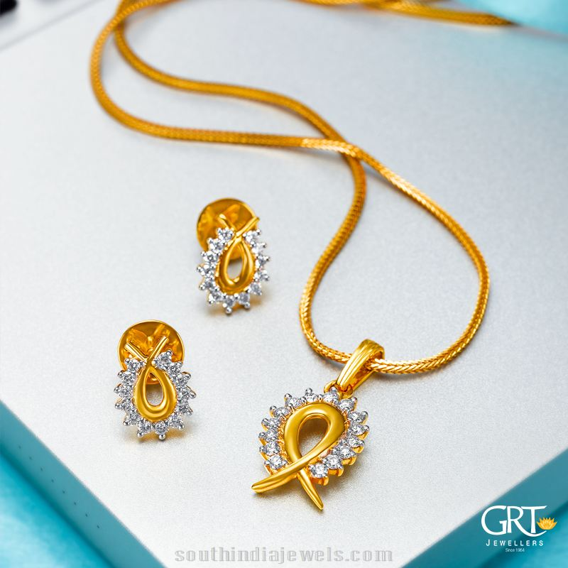 22k gold chain with earrings from GRT Jewellers