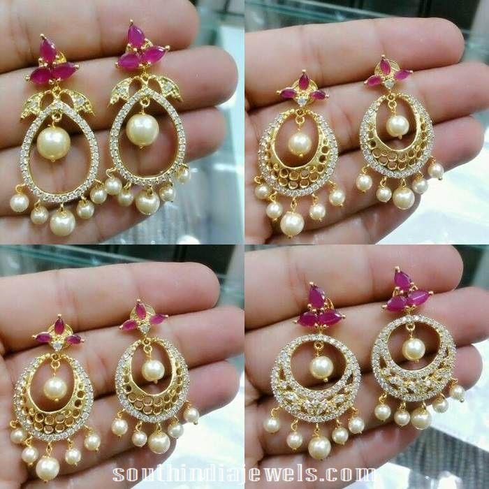 Designer 1 gram gold jewellery chandbali designs