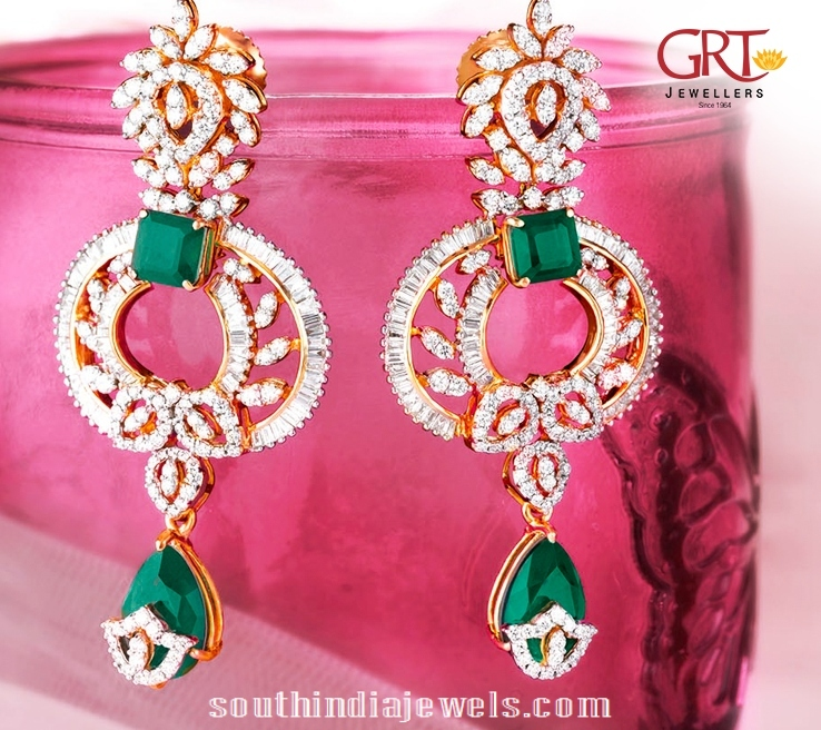 Diamond Earrings With Emeralds From Grt South India Jewels