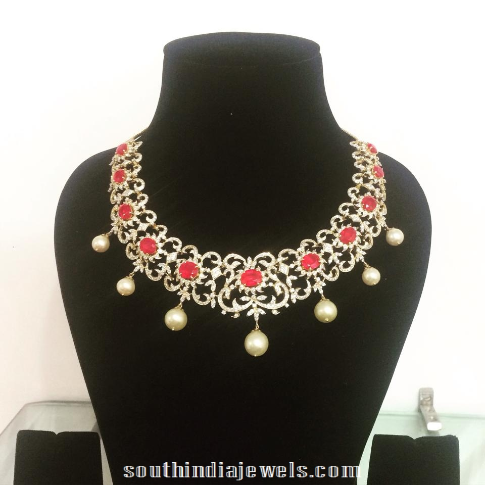 Diamond Necklace with Red Stone and south Sea pearls