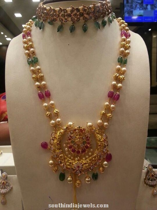 Double layer beaded pearl chain necklace from Premraj