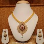 Latest Gold CZ Stone Necklace Model