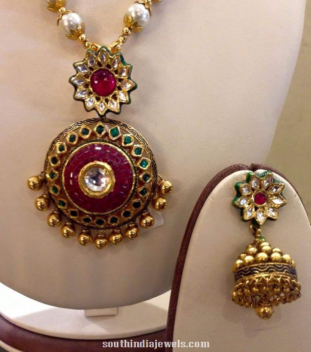 Gold Kundan fancy necklace with Jhumka