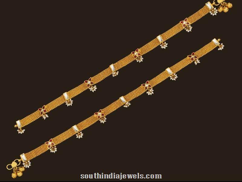 Gold Kundan Anklet design from VBJ