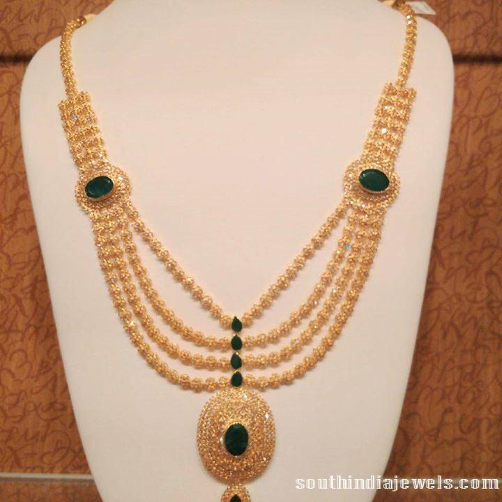 Mulilayer CZ stone Emerald necklace design