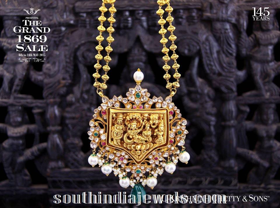 Royal Gundala haram with temple pendant from Krishna chetty and sons
