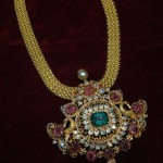 Gold Ruby Emerald Short Necklace