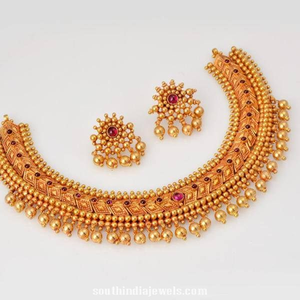 22K Gold Tussi Necklace Latest model 2015